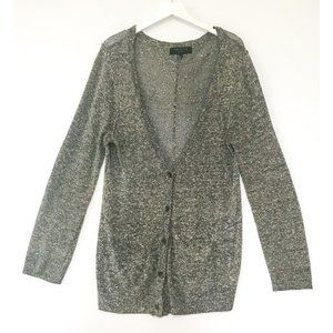Rag & Bone gray marled V neck cardigan size L